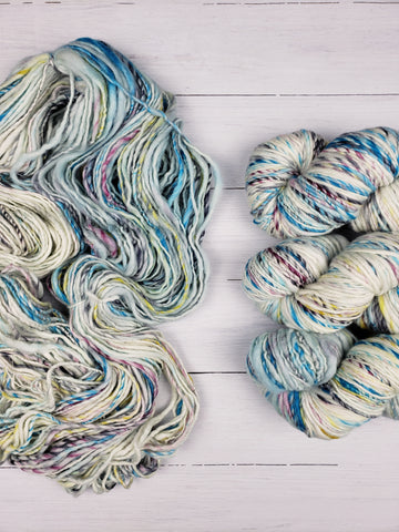Handspun from handpainted merino tops, Serpentina is a truly artisanal product. Each skein is unique, and the colors are totally random -- they will not stack or pool. The ultra-soft superwash merino in a quick-knit gauge calls for next-to-the-skin wear like cowls and hats.