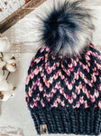 Live. Love. Stay Cozy. Out on the town or on a neighborhood stroll, you will stay warm all fall and winter in this handmade, modern beanie with a large snap on pom-pom to add a little flair.  Kettle dyed Merino wool in pinks, purples and navy blues.  Topped with a HANDMADE snap on faux fur pom-pom in variations of white and dark blue. Thick weight beanie.