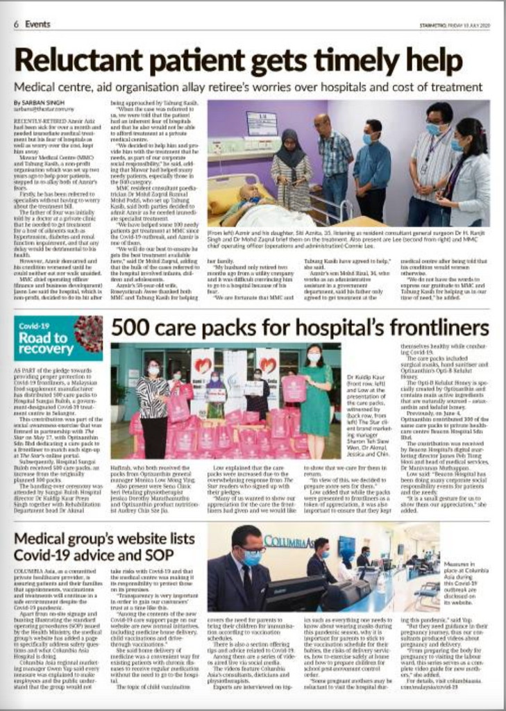 The Star Paper:  Optixanthin 500 care packs for hospital's frontliners