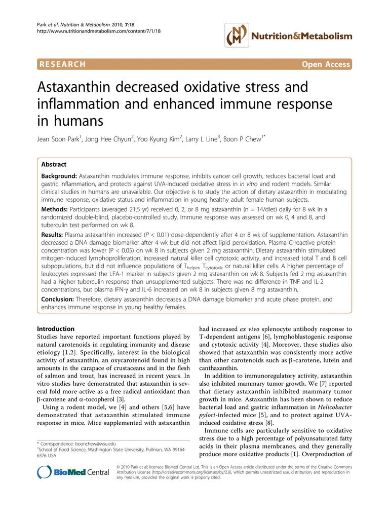 Astaxanthin decreased oxidative stress and inflammation and enhanced immune response in humans