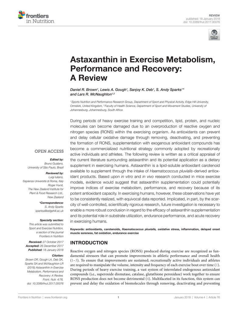 Astaxanthin in Exercise Metabolism, Performance and Recovery: A Review