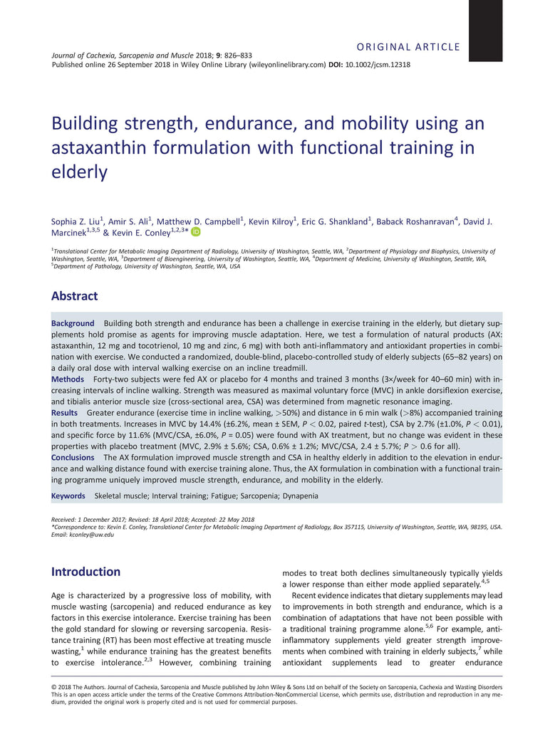 Building strength, endurance, and mobility using an astaxanthin formulation with functional training in elderly