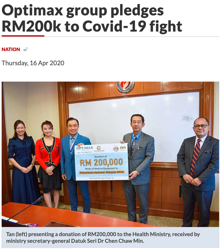 The Star Paper: Optimax Group Pledge RM200k for CONVID-19 Fight