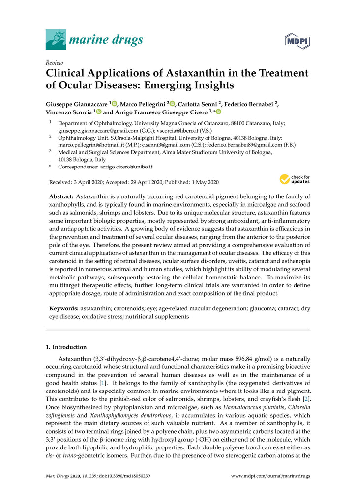 Clinical Applications of Astaxanthin in the Treatment of Ocular Diseases: Emerging Insights