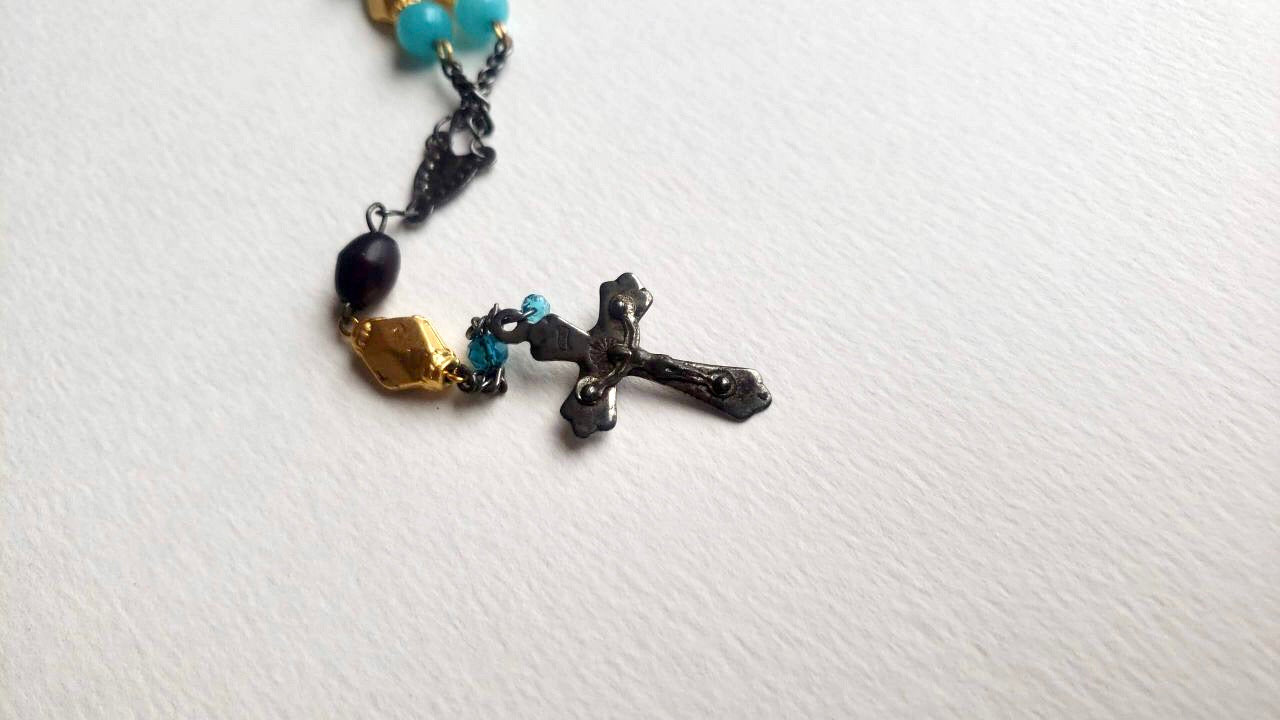 Roma Antique Refurbished Cross Necklace from 1920s