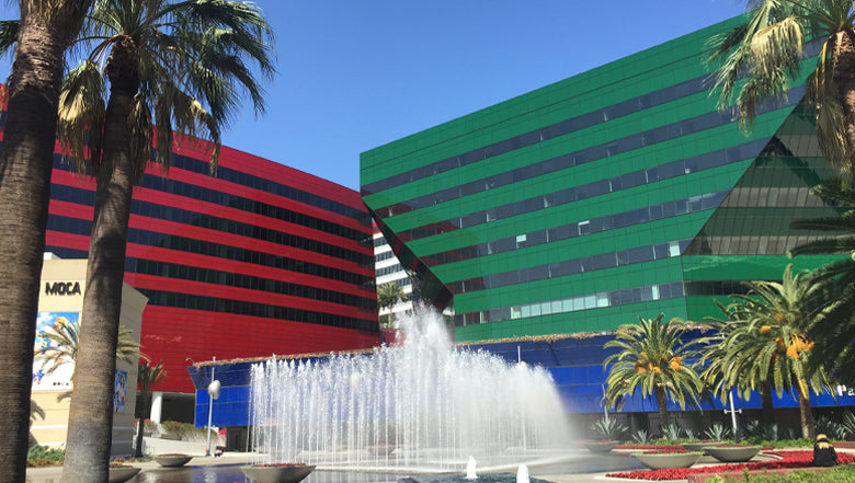 Palm Trees, two buildings