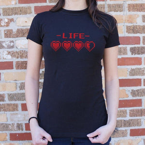 8-Bit Life Hearts T-Shirt (Ladies) - Ladies T-Shirt
