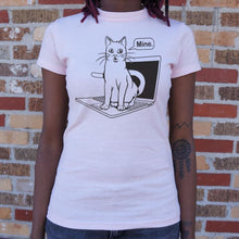 Load image into Gallery viewer, Cat Conquers Laptop T-Shirt (Ladies) - Ladies T-Shirt