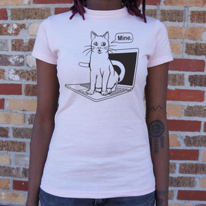 Cat Conquers Laptop T-Shirt (Ladies) - Ladies T-Shirt