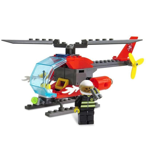 Firefighter Helicopter DIY 89pcs - BEAN RED - Toys & Hobbies