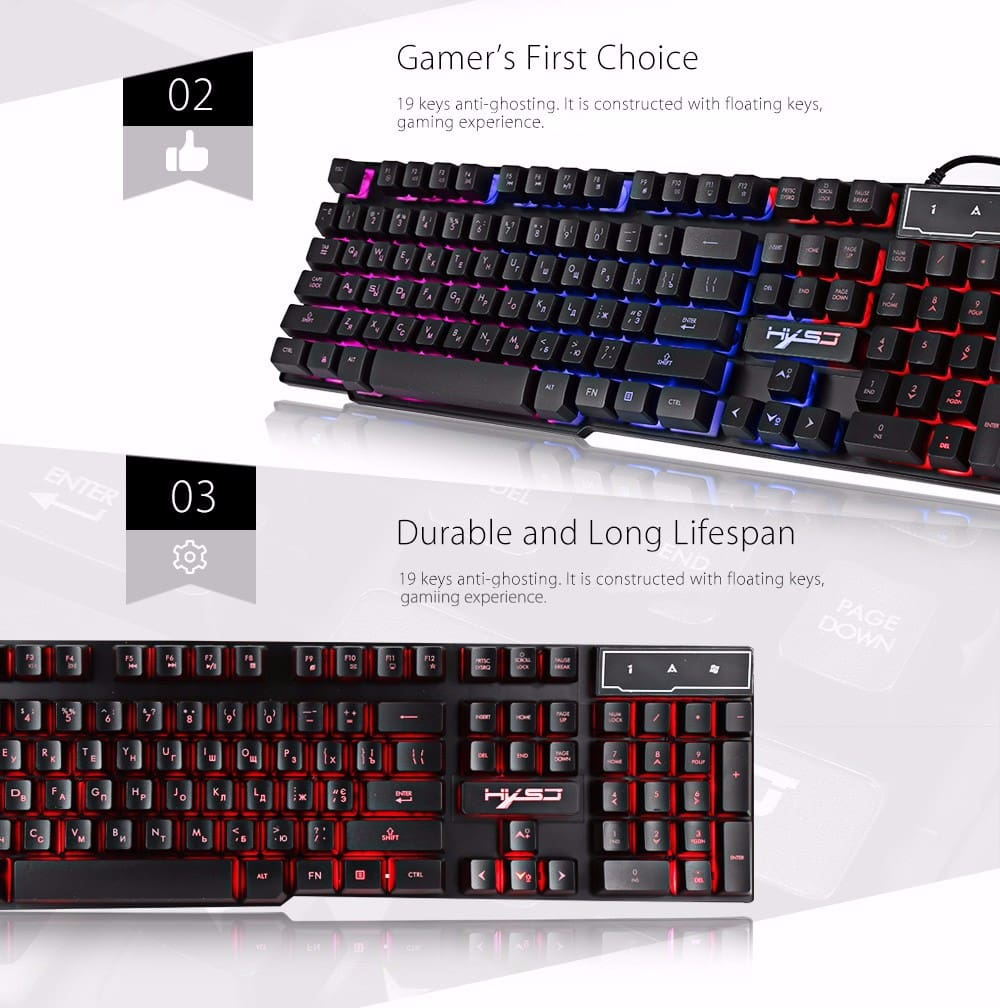 HXSJ R8 Gaming Keyboard with Backlight Function 104 Keys