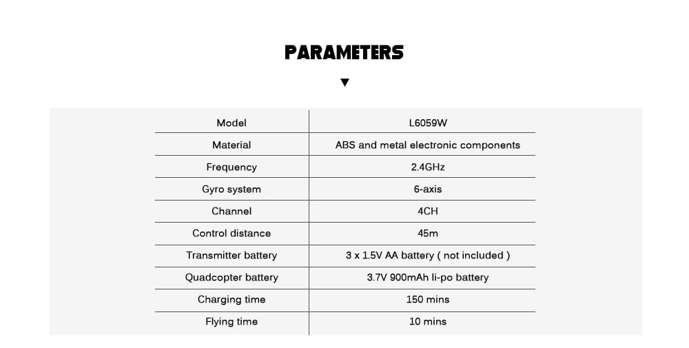 L6059W Foldable RC Quadcopter WiFi FPV Camera 2.4G 4CH 6-axis Gyro Altitude Hold Headless Mode Aircraft