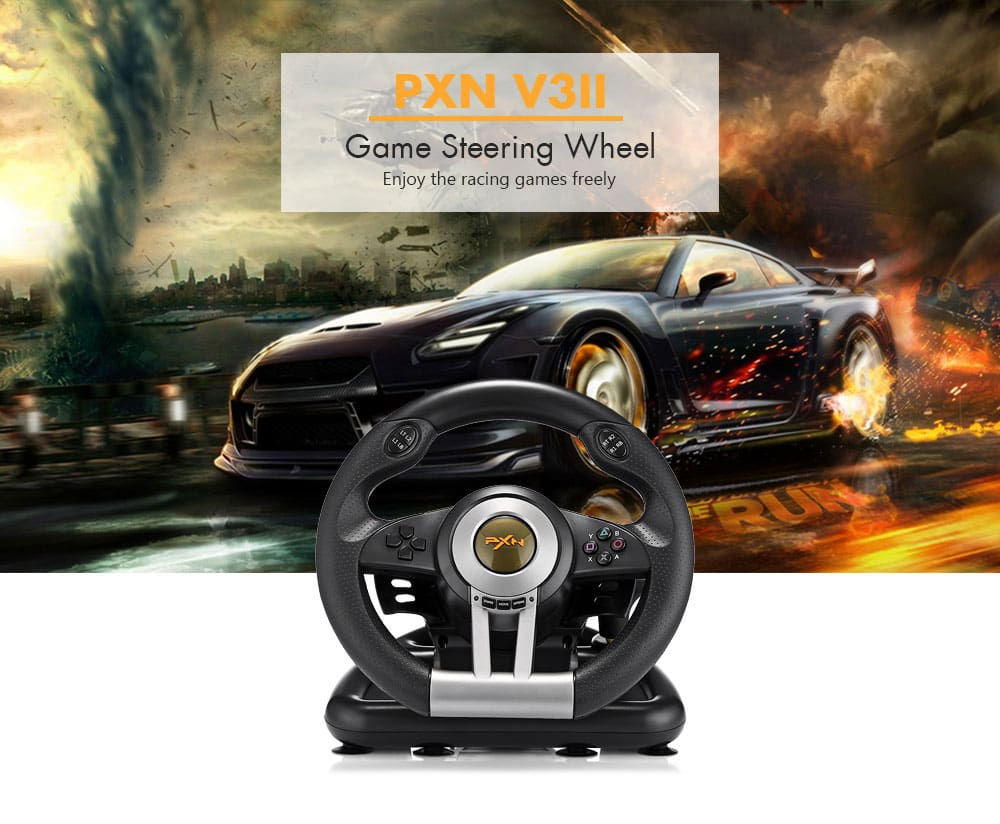 PXN - V3 Pro/V3II Racing Game Steering Wheel with Brake Pedal