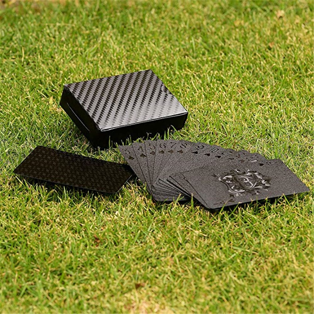 54PCS Durable Waterproof Black Gold Foil Poker Playing Card Deck Gift Board Game