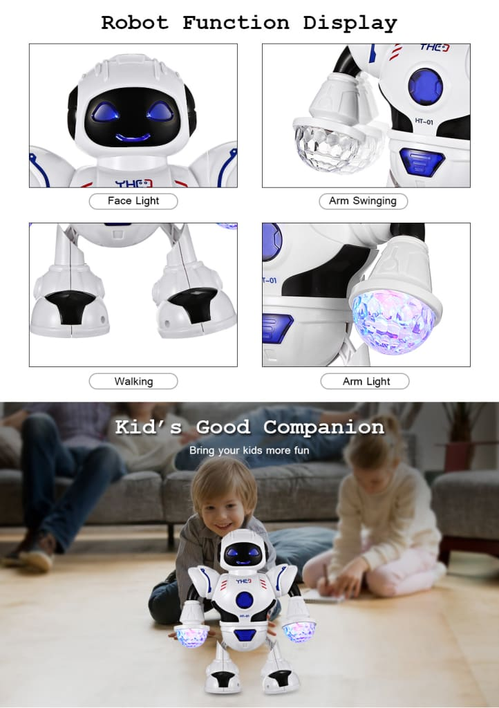 HT- 01 Kids Electronic Smart Space Dancing Robot with Music LED Light