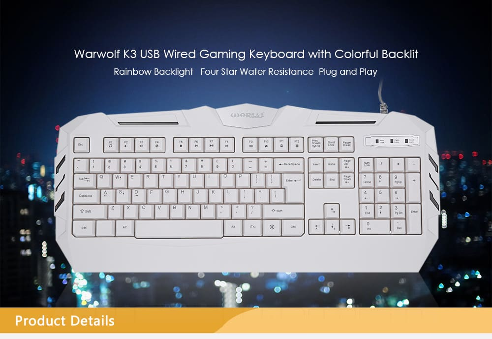 Warwolf K3 Mechanical Hand-feel 104-key Backlit USB Keyboard
