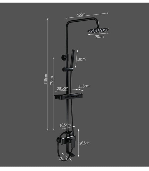 Black Rainfall Shower Faucets Set Wall Mounted Rain Shower Faucet Storage Bath Mixer Tap Hot Cold with Hand Shower EL3903