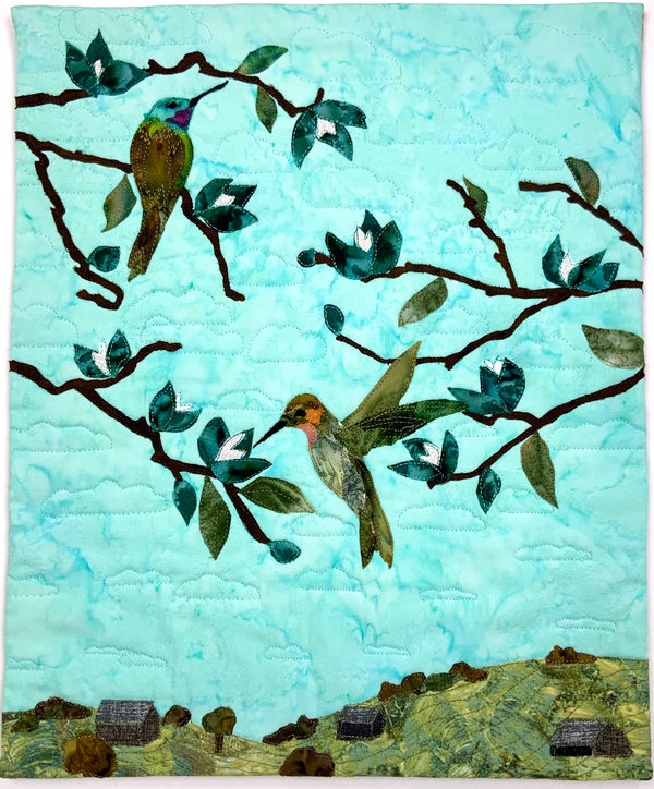 Fabric Collage Hummingbird Wall Art