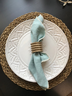 Teal Linen Dinner Napkins
