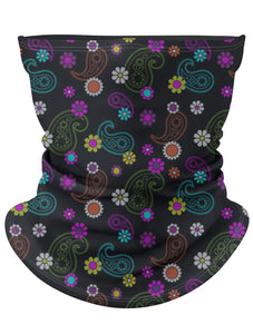 Black Floral Gaiter Face Mask