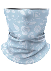 Light Blue Floral Pattern Gaiter Face Mask
