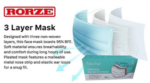 3 Layer Disposable Face Mask - Pack of 50