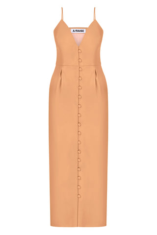 Maxi dress beige faux leather on the straps