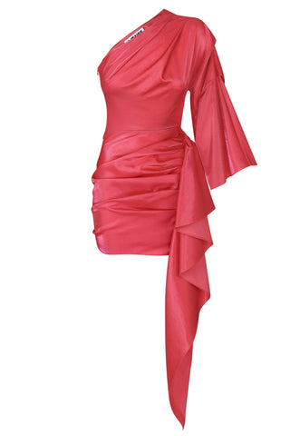 Mini dress coral shiny viscose