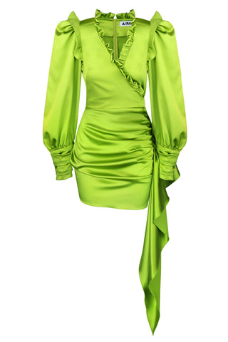 Mini dress green satin
