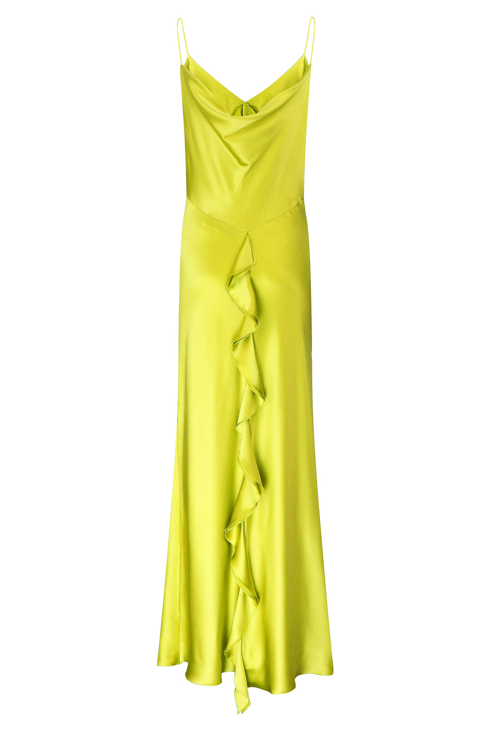 Maxi dress green silk on the straps
