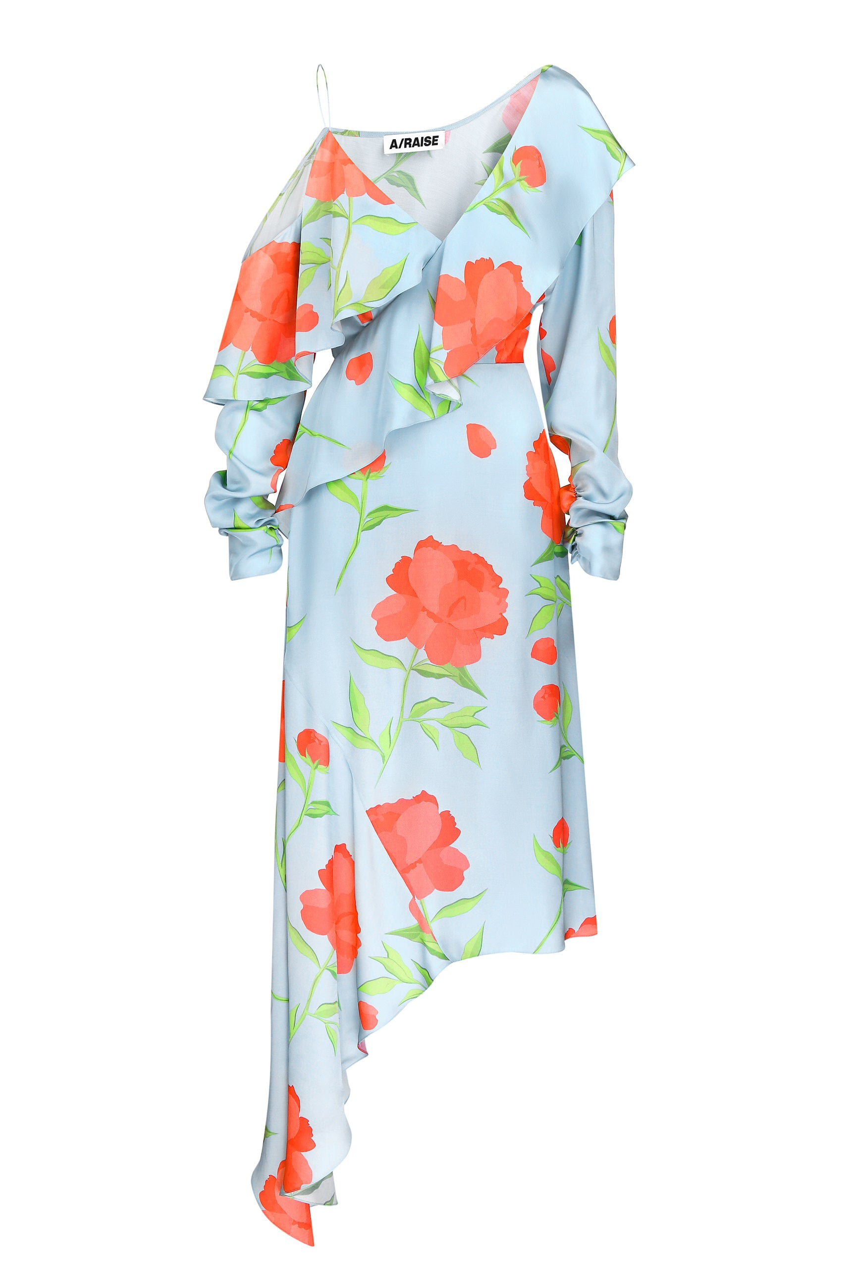 Midi dress blue viscose one-sleeve print flowers