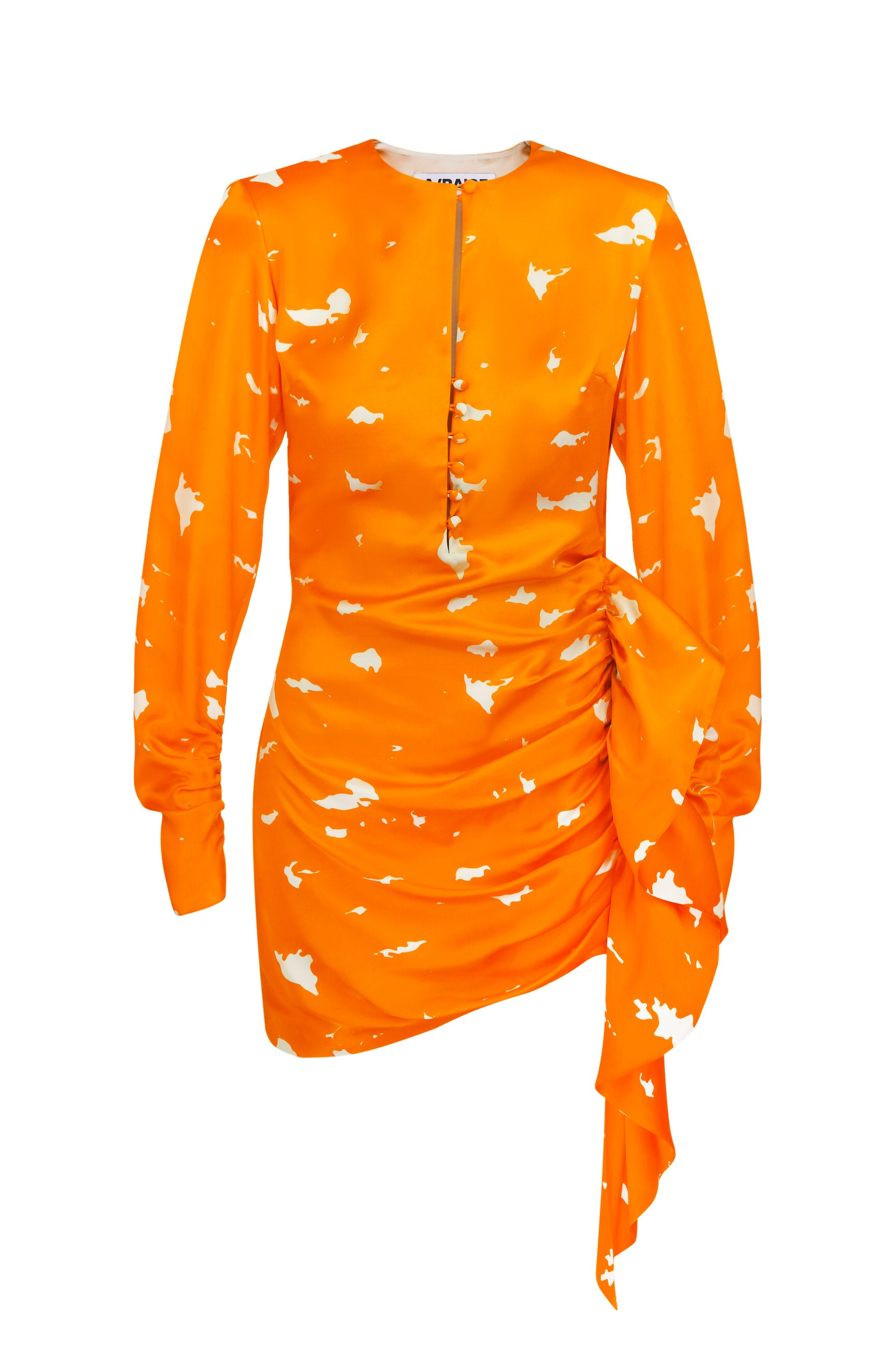Mini dress orange viscose with a tail print birch