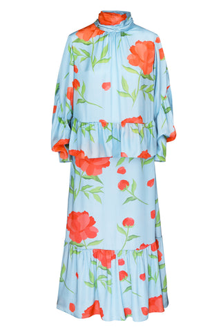 Midi dress blue viscose with a neck print flowers