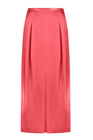 Skirt midi coral shiny viscose