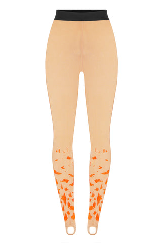 Mesh leggings beige with embroidery