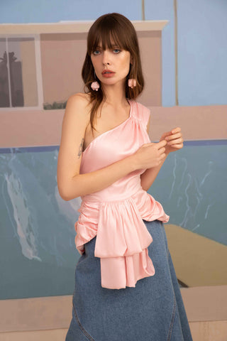 Pink top one-shoulder