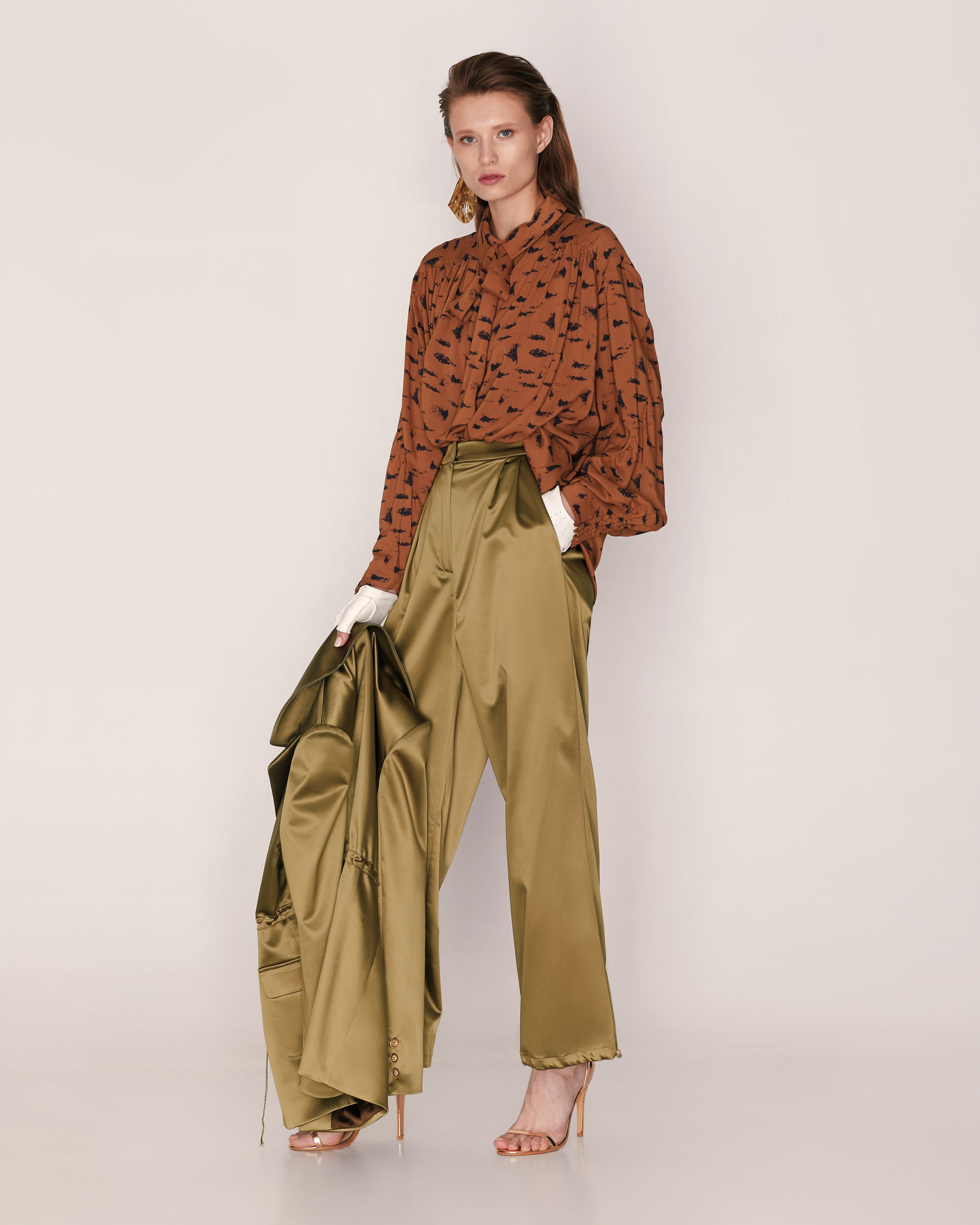 Satin pants with drawstring