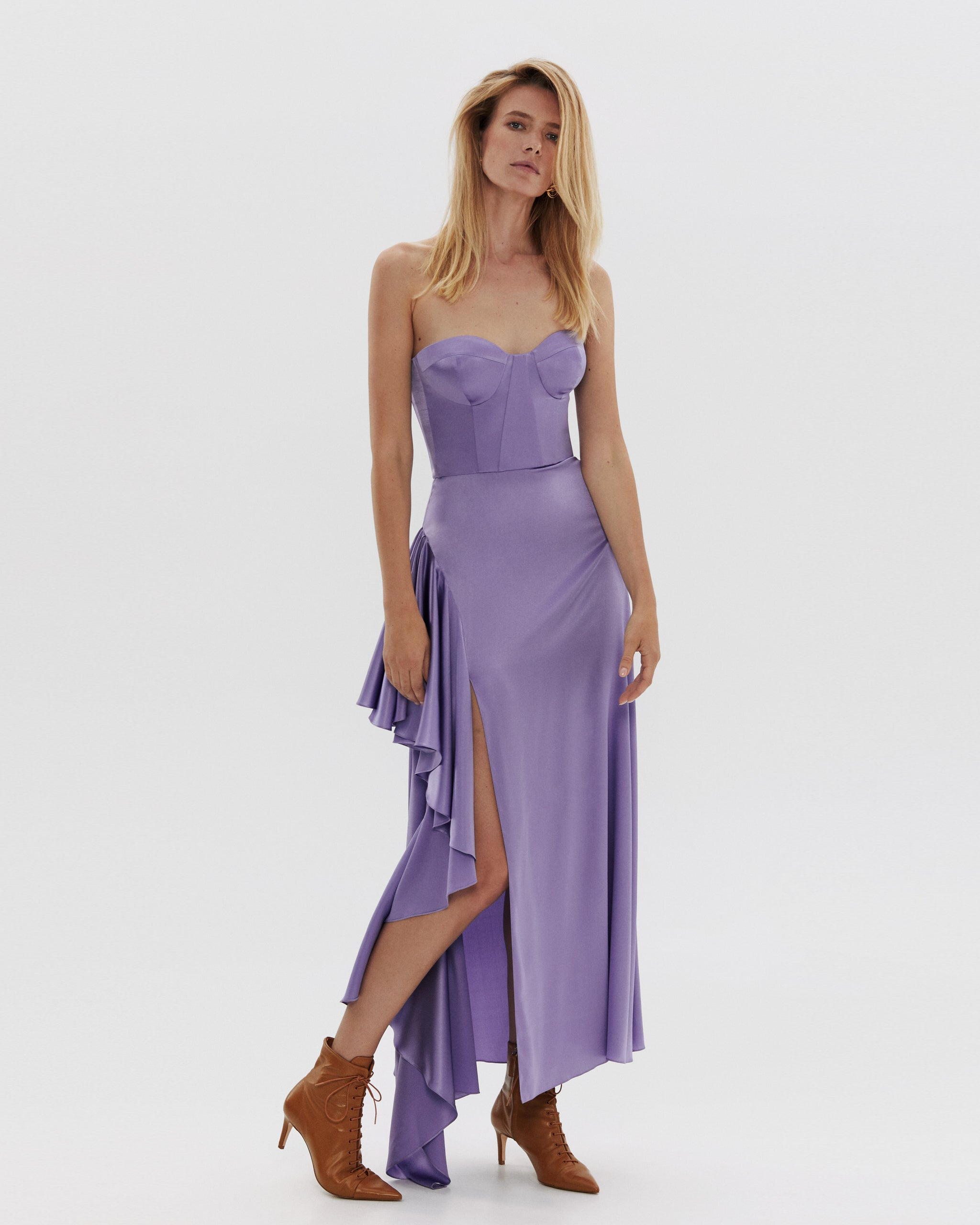 Silk corset-dress maxi