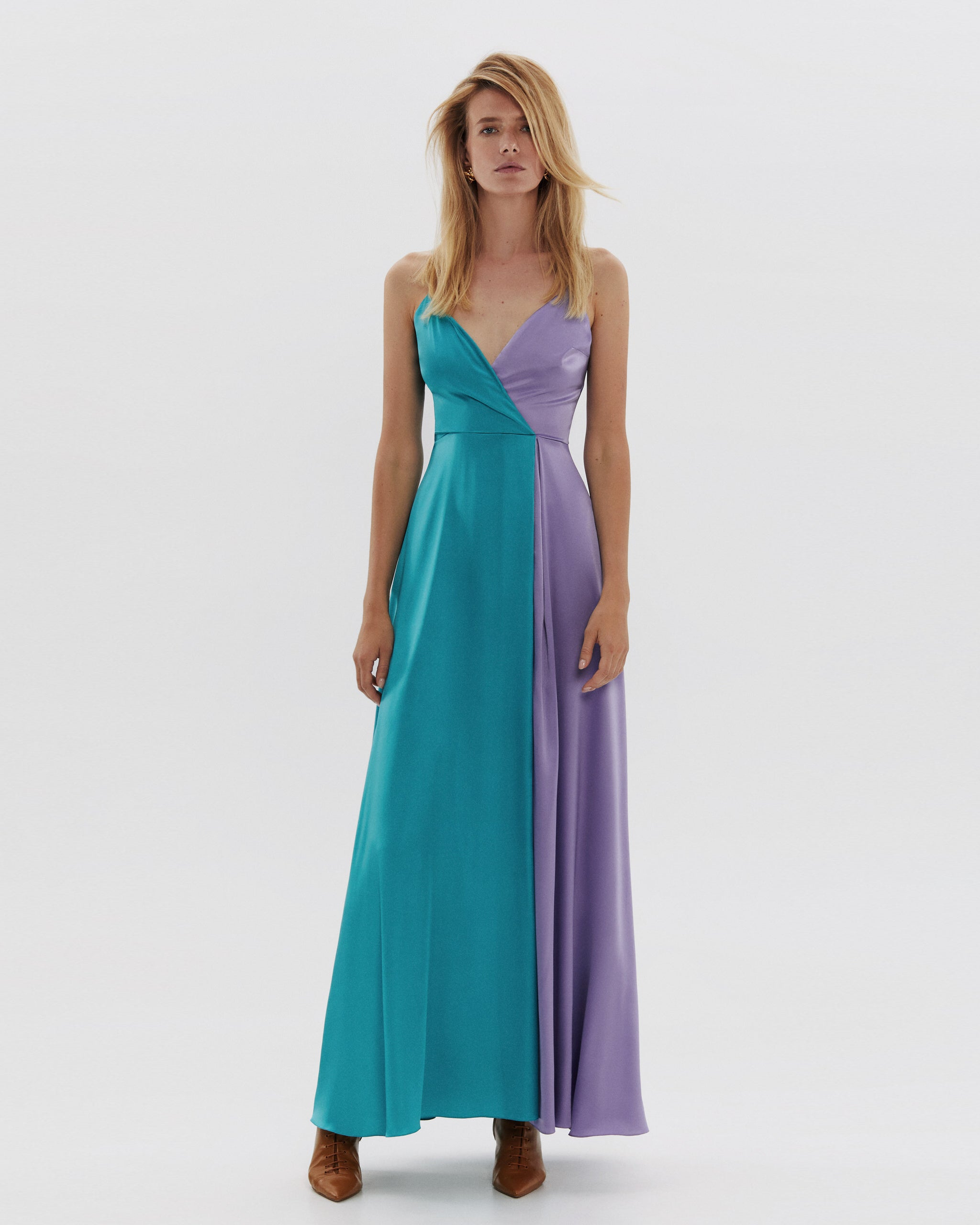 Silk dress on straps maxi