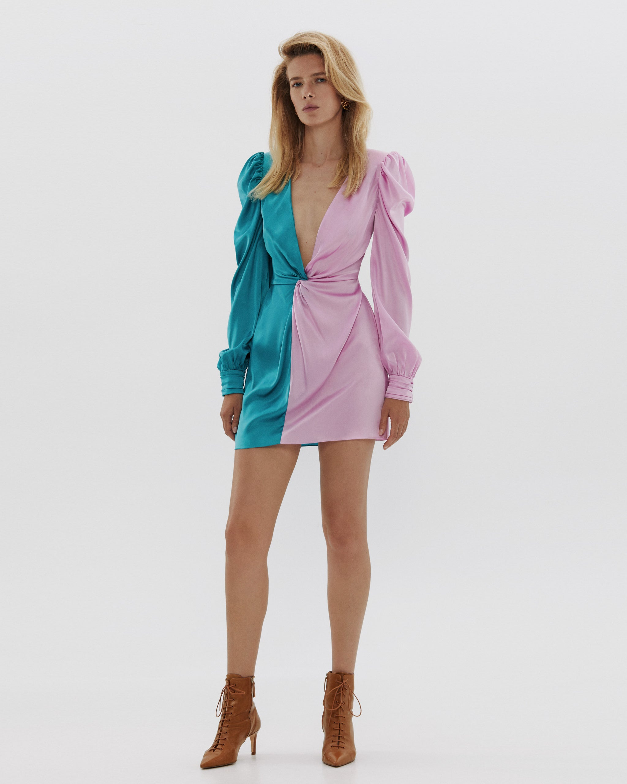 Silk two-tone mini dress