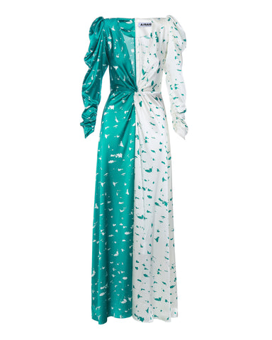 Silk maxi dress print birch bark