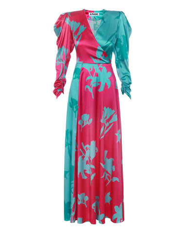 Silk maxi dress print flowers