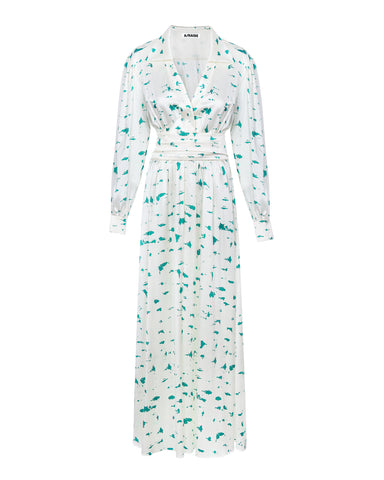 Silk shirt-dress maxi print birch bark