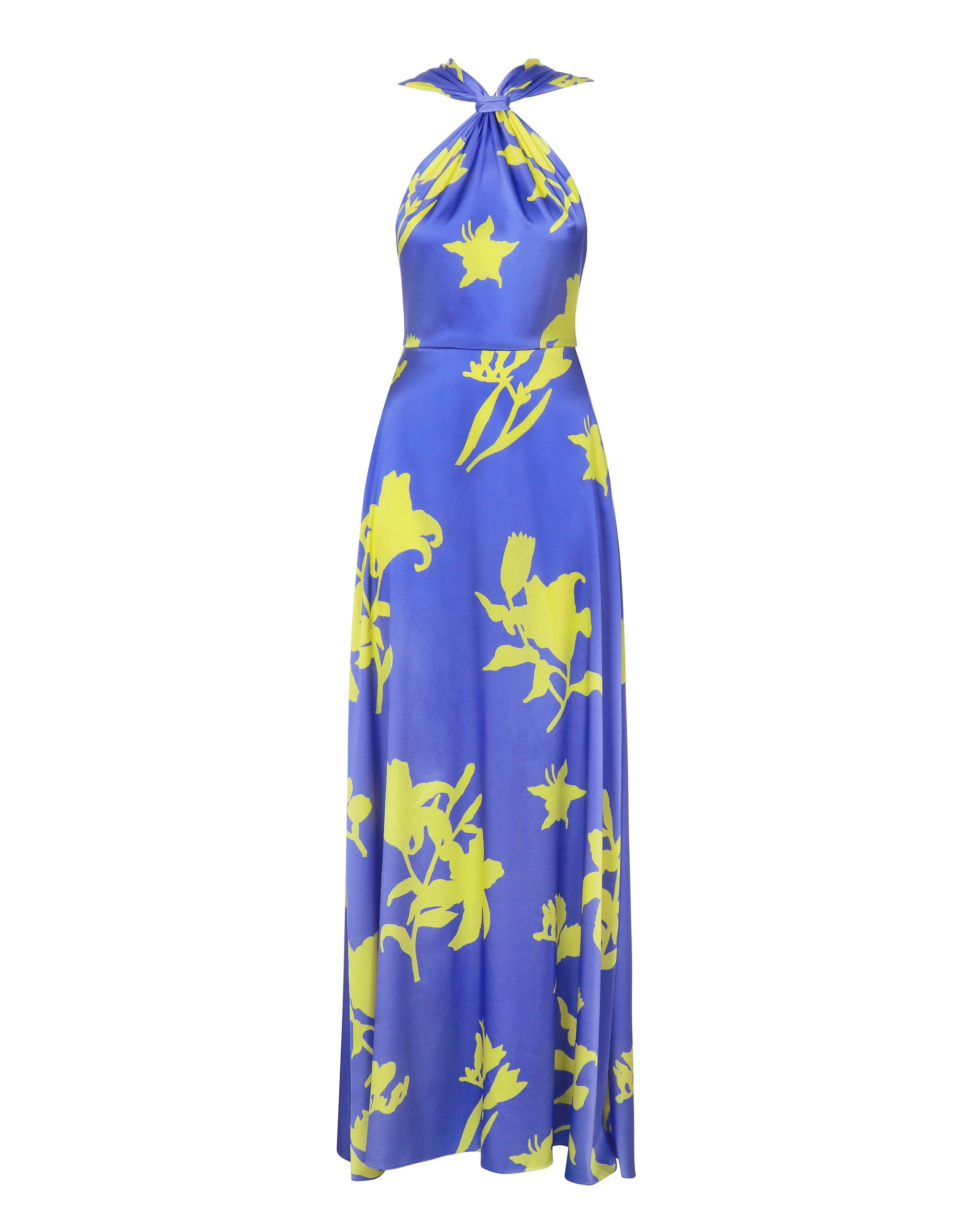 Silk maxi dress with open back print flowers