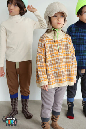 BN Check Poloneck Pullover at Color Me WHIMSY Hip Kid's Fashion Ethically Made in South Korea