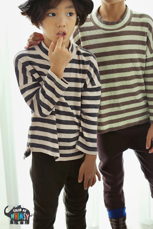 BN Mock Neck Stripe T-shirt at Color Me WHIMSY Hip Kid's Fashion Ethically Made in South Korea