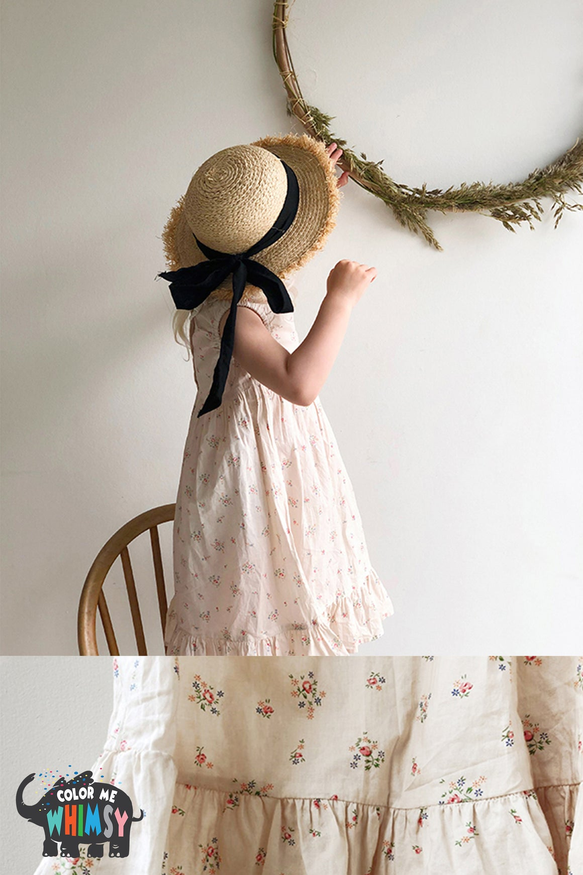 BN V-Neck Lace Torsion Dress at Color Me WHIMSY Hip Kid's Fashion Ethically Made in South Korea