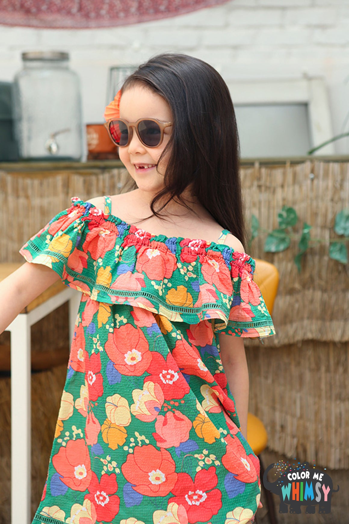 Peach and Cream Aloha Off-shoulder Dress at Color Me WHIMSY Hip Kid's Fashion Ethically Made in South Korea