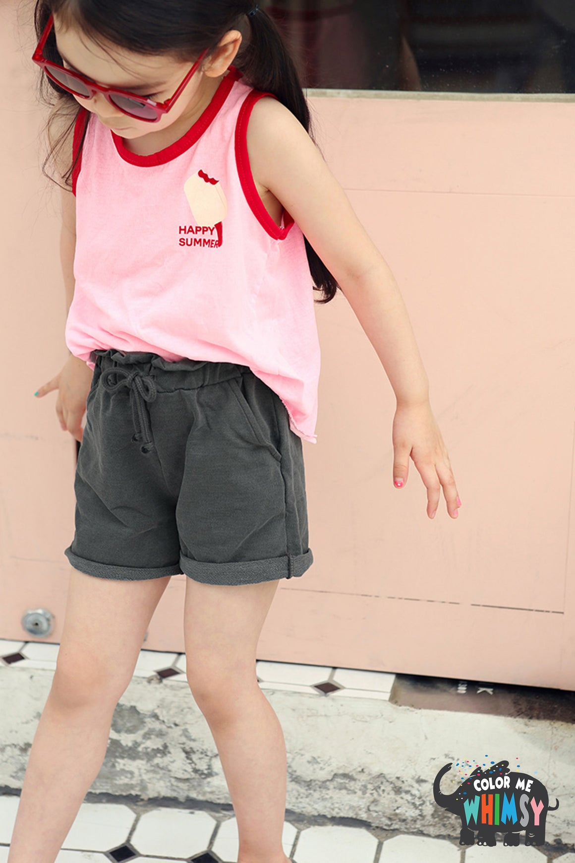 Peach and Cream Creamy Sleeveless-T at Color Me WHIMSY Hip Kid's Fashion Ethically Made in South Korea
