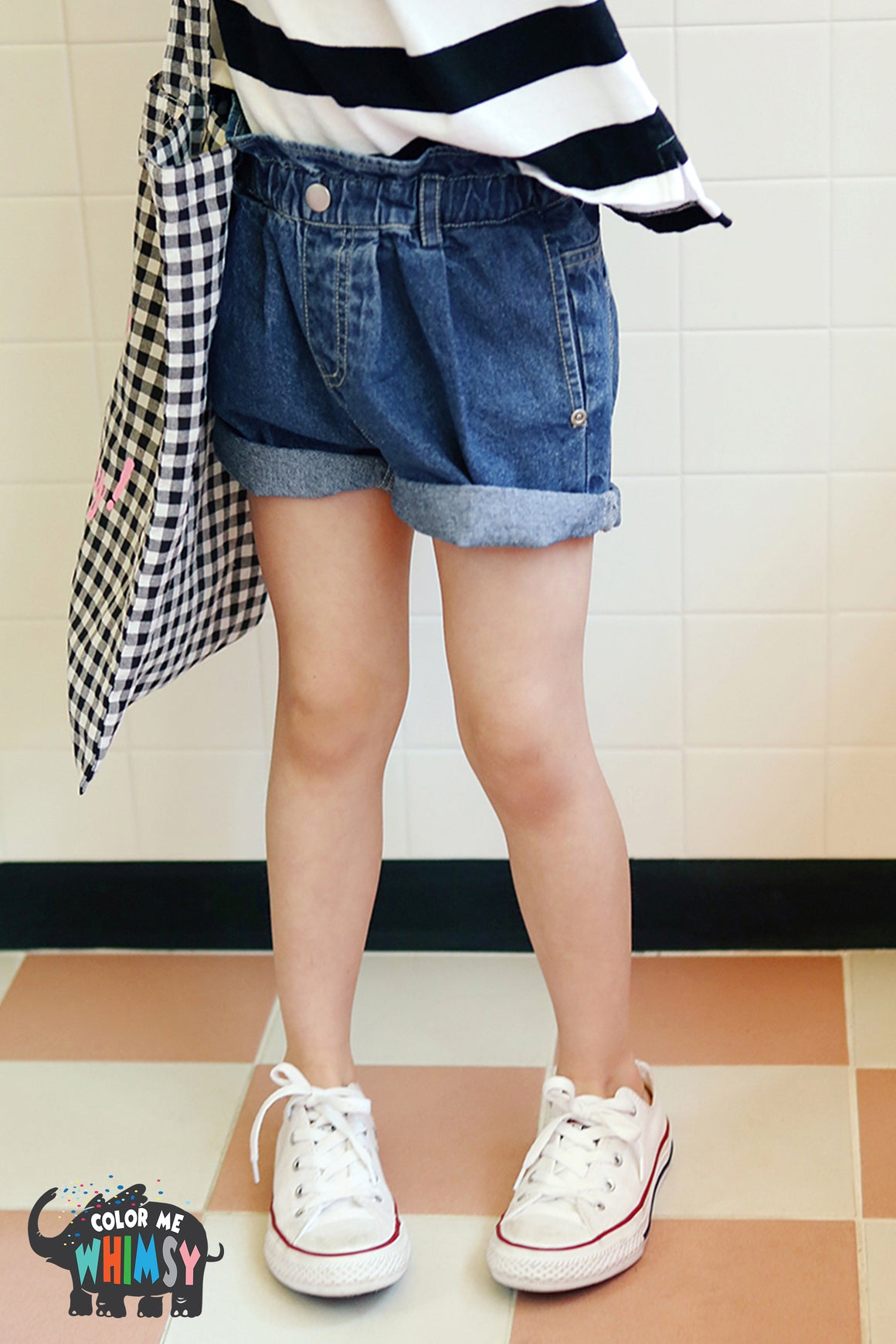 Peach and Cream DeepNY Denim Shorts at Color Me WHIMSY Hip Kid's Fashion Ethically Made in South Korea